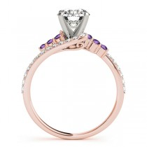 Diamond & Amethyst Bypass Engagement Ring 18k Rose Gold (0.45ct)