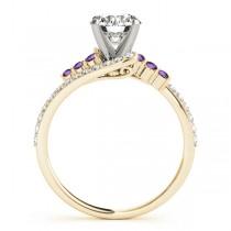 Diamond & Amethyst Bypass Engagement Ring 18k Yellow Gold (0.45ct)