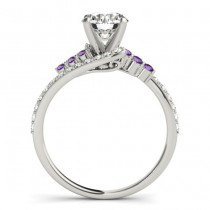 Diamond & Amethyst Bypass Engagement Ring Palladium (0.45ct)