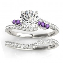 Diamond & Amethyst Bypass Bridal Set 14k White Gold (0.74ct)