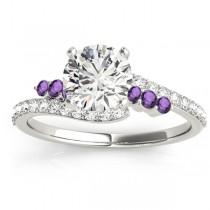 Diamond & Amethyst Bypass Bridal Set 14k White Gold (0.74ct)