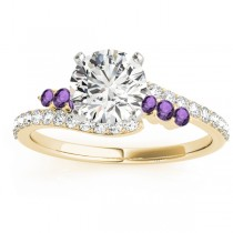 Diamond & Amethyst Bypass Bridal Set 14k Yellow Gold (0.74ct)