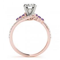Diamond & Amethyst Bypass Bridal Set 18k Rose Gold (0.74ct)