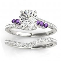 Diamond & Amethyst Bypass Bridal Set 18k White Gold (0.74ct)