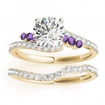 Diamond & Amethyst Bypass Bridal Set 18k Yellow Gold (0.74ct)