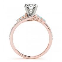 Diamond & Aquamarine Bypass Engagement Ring 18k Rose Gold (0.45ct)