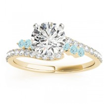 Diamond & Aquamarine Bypass Engagement Ring 18k Yellow Gold (0.45ct)