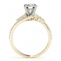 Diamond & Aquamarine Bypass Engagement Ring 18k Yellow Gold (0.45ct)