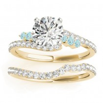 Diamond & Aquamarine Bypass Bridal Set 14k Yellow Gold (0.74ct)
