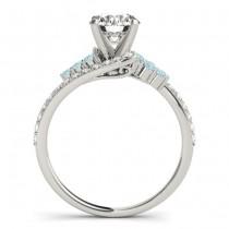 Diamond & Aquamarine Bypass Bridal Set 18k White Gold (0.74ct)