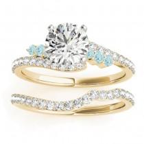 Diamond & Aquamarine Bypass Bridal Set 18k Yellow Gold (0.74ct)