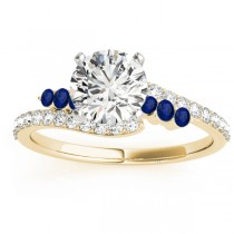 Diamond & Blue Sapphire Bypass Engagement Ring 14k Yellow Gold (0.45ct)