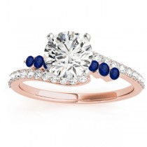 Diamond & Blue Sapphire Bypass Engagement Ring 18k Rose Gold (0.45ct)
