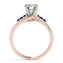 Diamond & Blue Sapphire Bypass Engagement Ring 18k Rose Gold (0.45ct)