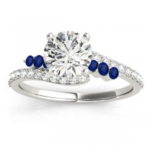 Diamond & Blue Sapphire Bypass Engagement Ring 18k White Gold (0.45ct)