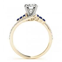 Diamond & Blue Sapphire Bypass Engagement Ring 18k Yellow Gold (0.45ct)