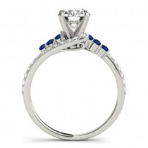 Diamond & Blue Sapphire Bypass Engagement Ring Palladium (0.45ct)