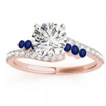 Diamond & Blue Sapphire Bypass Bridal Set 18k Rose Gold (0.74ct)