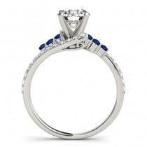 Diamond & Blue Sapphire Bypass Bridal Set 18k White Gold (0.74ct)