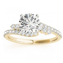 Diamond Bypass Engagement Ring Setting 14k Yellow Gold (0.45ct)