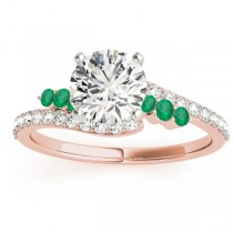 Diamond & Emerald Bypass Engagement Ring 14k Rose Gold (0.45ct)