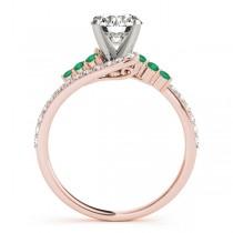 Diamond & Emerald Bypass Engagement Ring 14k Rose Gold (0.45ct)