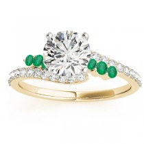 Diamond & Emerald Bypass Engagement Ring 14k Yellow Gold (0.45ct)