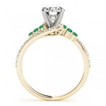 Diamond & Emerald Bypass Engagement Ring 14k Yellow Gold (0.45ct)