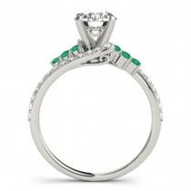 Diamond & Emerald Bypass Engagement Ring 18k White Gold (0.45ct)