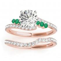 Diamond & Emerald Bypass Bridal Set 14k Rose Gold (0.74ct)