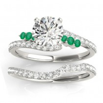 Diamond & Emerald Bypass Bridal Set 14k White Gold (0.74ct)