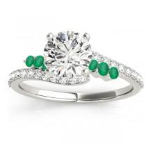 Diamond & Emerald Bypass Bridal Set 18k White Gold (0.74ct)