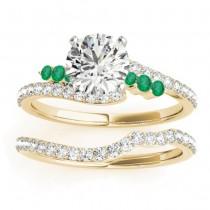 Diamond & Emerald Bypass Bridal Set 18k Yellow Gold (0.74ct)