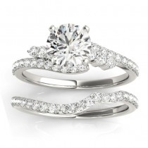 Diamond Accented Bypass Bridal Set Setting 14k White Gold (0.74ct)