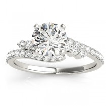 Diamond Accented Bypass Bridal Set Setting 18k White Gold (0.74ct)
