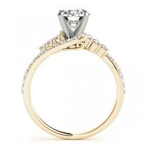 Diamond Accented Bypass Bridal Set Setting 18k Yellow Gold (0.74ct)