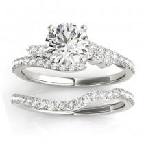 Diamond Accented Bypass Bridal Set Setting Palladium (0.74ct)