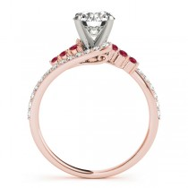 Diamond & Ruby Bypass Engagement Ring 18k Rose Gold (0.45ct)