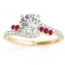 Diamond & Ruby Bypass Engagement Ring 18k Yellow Gold (0.45ct)