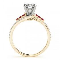 Diamond & Ruby Bypass Engagement Ring 18k Yellow Gold (0.45ct)
