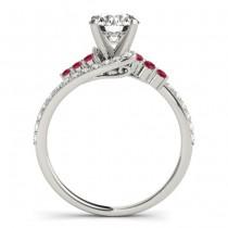 Diamond & Ruby Bypass Engagement Ring Palladium (0.45ct)