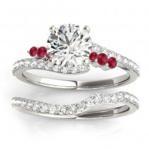 Diamond & Ruby Bypass Bridal Set 14k White Gold (0.74ct)
