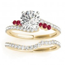 Diamond & Ruby Bypass Bridal Set 14k Yellow Gold (0.74ct)