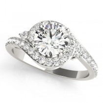 Halo Swirl Diamond Accented Engagement Ring 14k White Gold (1.00ct)
