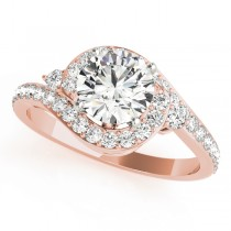 Halo Swirl Diamond Engagement Ring 18K Rose Gold (1.50ct)