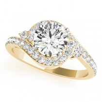 Halo Swirl Diamond Accented Engagement Ring 18k Yellow Gold (1.50ct)