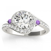 Halo Swirl Amethyst & Diamond Engagement Ring 14k White Gold (0.48ct)