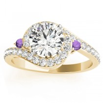 Halo Swirl Amethyst & Diamond Engagement Ring 14k Yellow Gold (0.48ct)