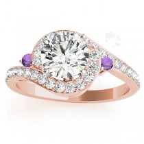 Halo Swirl Amethyst & Diamond Engagement Ring 18K Rose Gold (0.48ct)