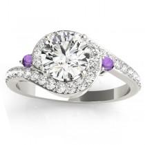 Halo Swirl Amethyst & Diamond Engagement Ring Palladium (0.48ct)